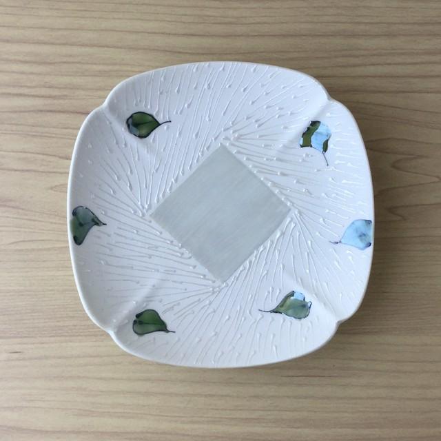 【有田焼】錦一葉散し 木甲角銘々皿