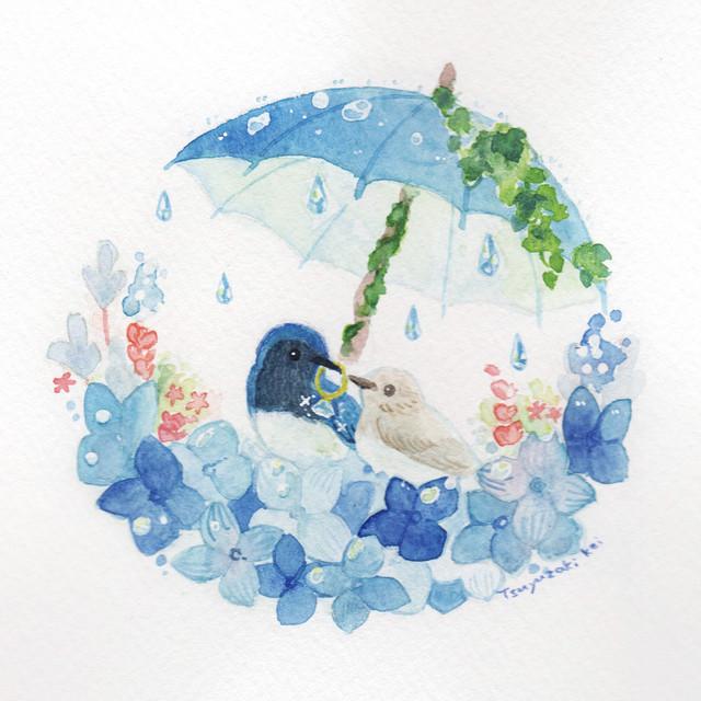 【南極ホタル堂】 原画「オオルリ×アジサイ」