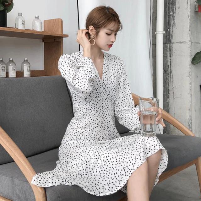 【dress】韓国風Chic気質エレガントVネック長袖スリムプリントワンピース