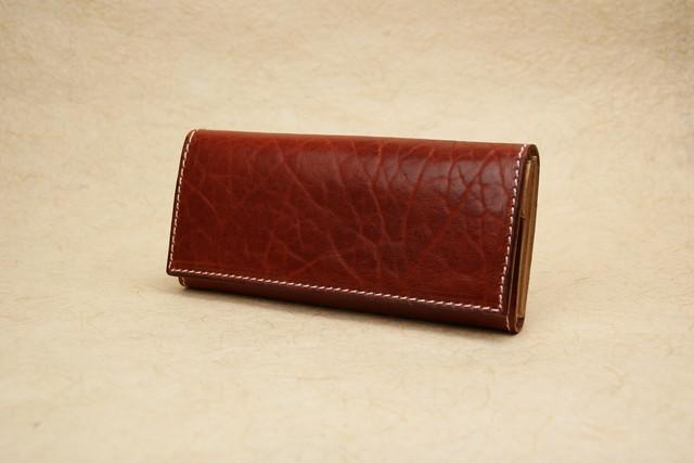 スリムな長財布 深い赤 牛革ショルダー Leather wallet