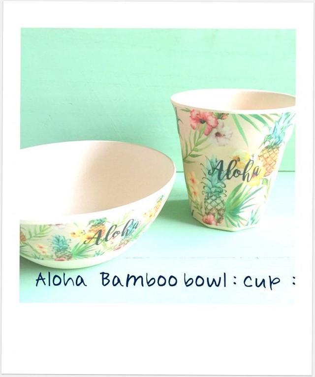 aloha パイナップル バンブーボウル:カップ 2SET♪