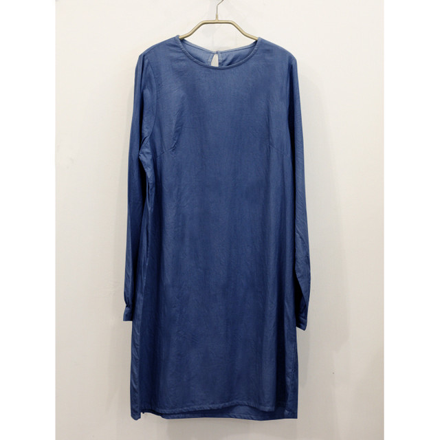 【予約販売】【CANDY】藍染めオーガニックコットンビエラ長袖ワンピース