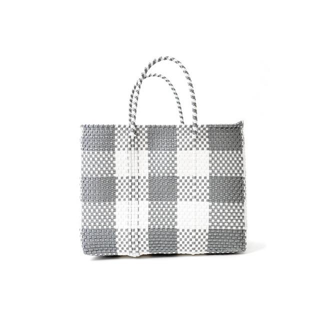 MERCADO BAG CHECK - Silver x White(XS)