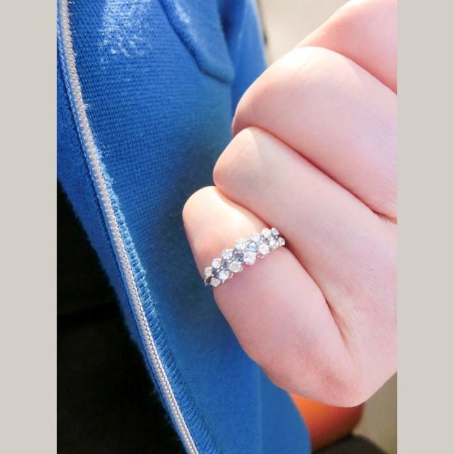 アクアマリンとダイヤモンドのリング K18ホワイトゴールド