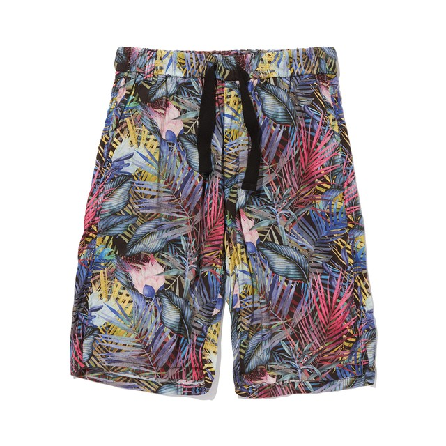 BOTANICAL PRINTED EASY SHORT PANTS -BLACK