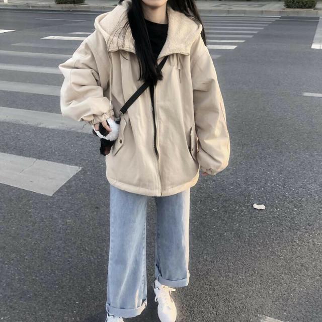 ボアパーカー もこもこ ジップアップ ボア アウター あたたかい ビッグシルエット ボアジャケット ボアブルゾン パーカー レディース 秋 冬 韓国ファッション / Chic loose double-sided wear cotton jacket (DTC-606610675474)