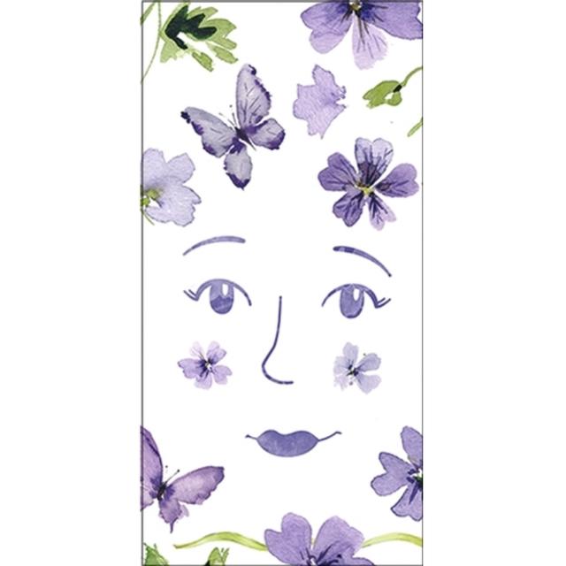 2021春夏【IHR】バラ売り2枚 ポケットサイズ ペーパーナプキン PURPLE SPRING ホワイト