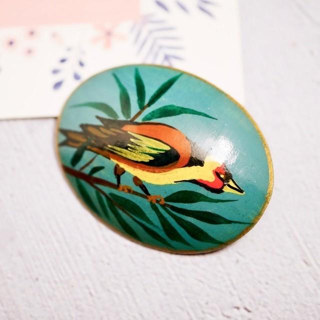 ロシアラッカー 小鳥 ブローチ