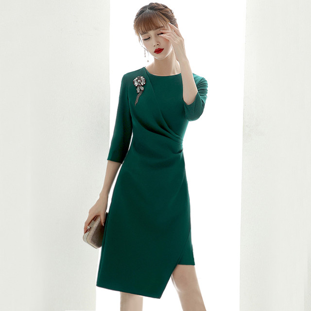 パーティードレス 膝丈ワンピース ロングドレス 女子会 二次会 お呼ばれドレス 発表会 大きいサイズ S M L LL 3L 4L グリーン ブラック ワインレッド