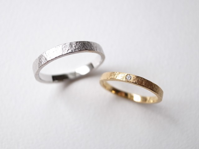 【pairing・stamp】K18YG Diamond・Pt900/stone texture ring