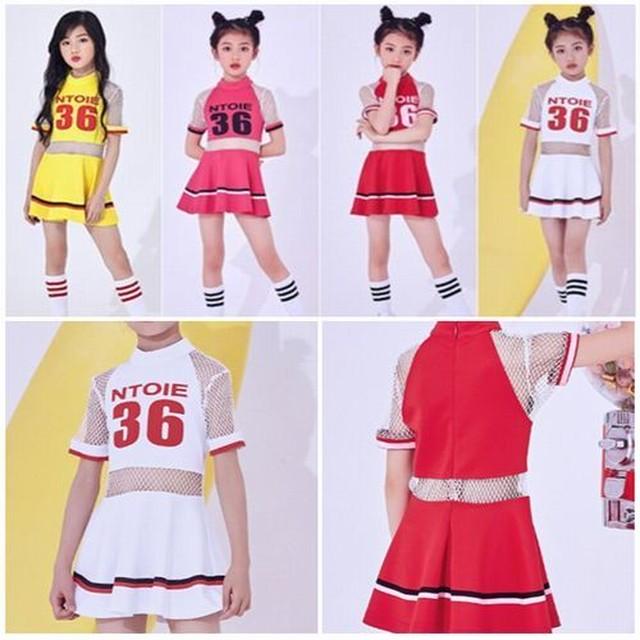 120〜170cm 4カラー★ヒップホップ ダンス ドレス スカート チア 半袖