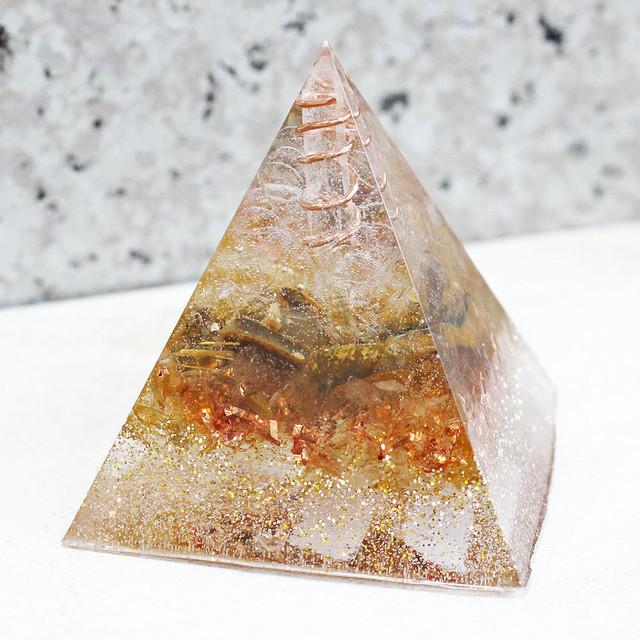 [受注製作] ピラミッド型Ⅱ オルゴナイト シトリン&タイガーアイ