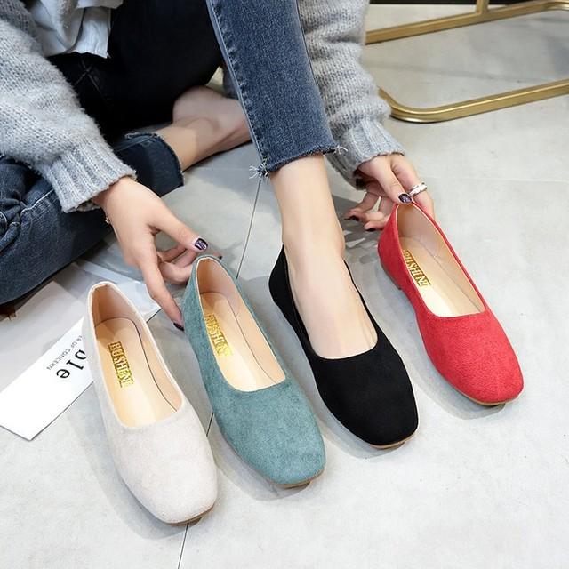 【shoes】浅い口特別なレディ感フラットシューズ