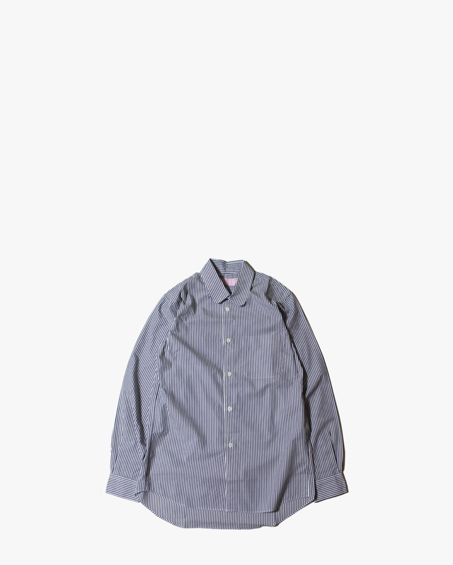 "EACHTIME.  ""Round Collar Shirt""    Navy Stripe"