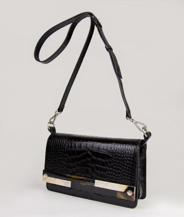 CROSSBODY M BLACK CROCO EFFECT with MOSAIC HORN