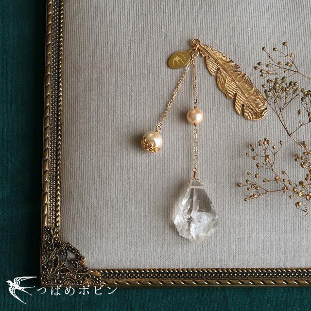 天然石とパールの帯飾り《水晶/羽根》