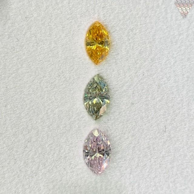 合計  0.54 ct 天然 カラー ダイヤモンド 3 ピース GIA  3 点 付 マルチスタイル / カラー FANCY DIAMOND 【DEF GIA MULTI】