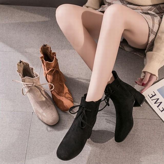 ショートブーツ ハイヒール 背面ジッパー 韓国ファッション レディース ブーツ スクエアトゥ 7cm 太いヒール チャンキーヒール スエード 美脚 / Thick heel high heels plus velvet short boots (DTC-601648268188)