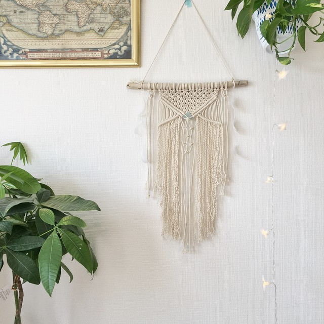 macrame tapestry - Seaglass × feather -