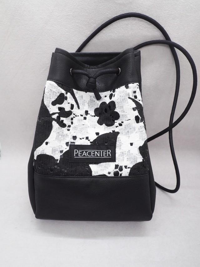 MONOコットンレース 巾着型ミニバッグ