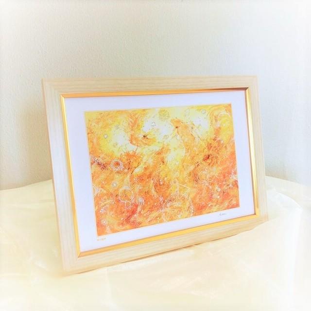 『黄の龍神』【龍神の絵】A4サイズ 額入 ヒーリングアート