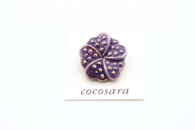 有田焼ブローチ flower 濃紫