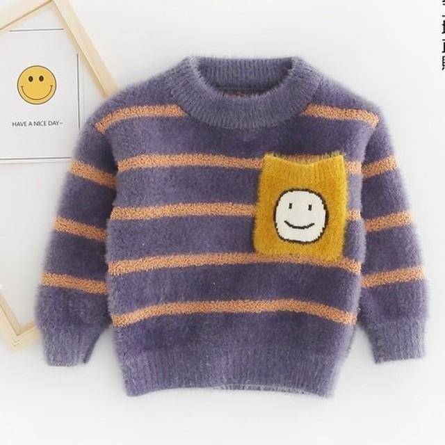 【トップス】柔らかい可愛いボーダー笑顔厚手子供服ニット·セーター24504994