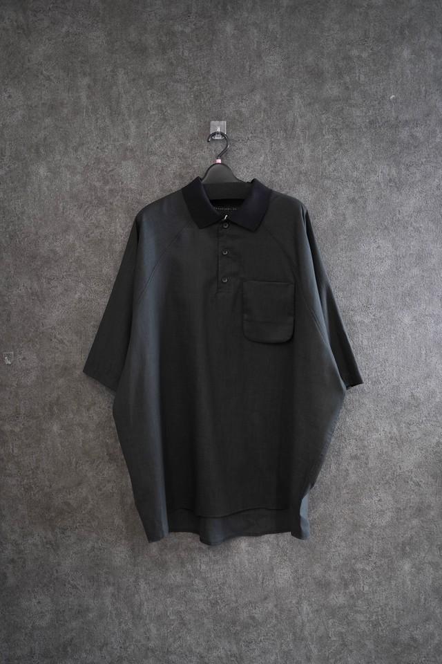 my beautiful landlet COTTON LYOCEL&LINE CANVAS polo shirt  Black