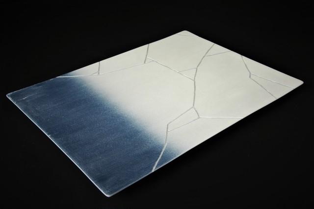 銀氷裂紋フラットプレート 有田焼