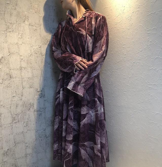 flowerprint neck frill dress