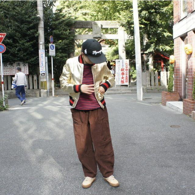 Topanga Fashion シャイニーレザースタジャン ゴールド