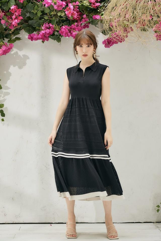 Lace-Trimmed Stretch Knit Dress