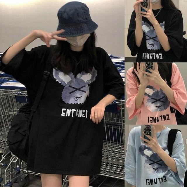 Tシャツ 半袖 ラウンドネック プリント ドロップショルダー 大きめ オーバーサイズ 韓国ファッション レディース カジュアル ストリートファッション / Loose short sleeve T-shirt women in tide (DTC-644950773167)