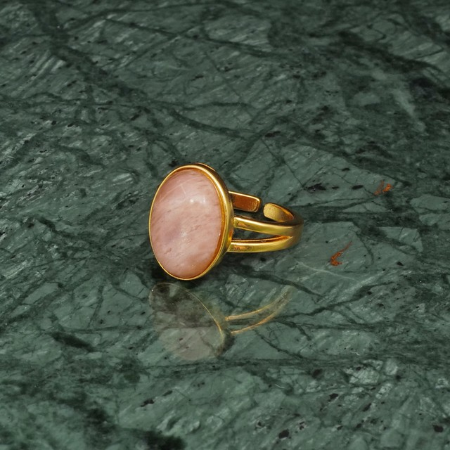 OVAL BIG STONE RING GOLD 011
