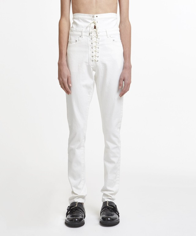 White Hi Shoelace Straight Jeans