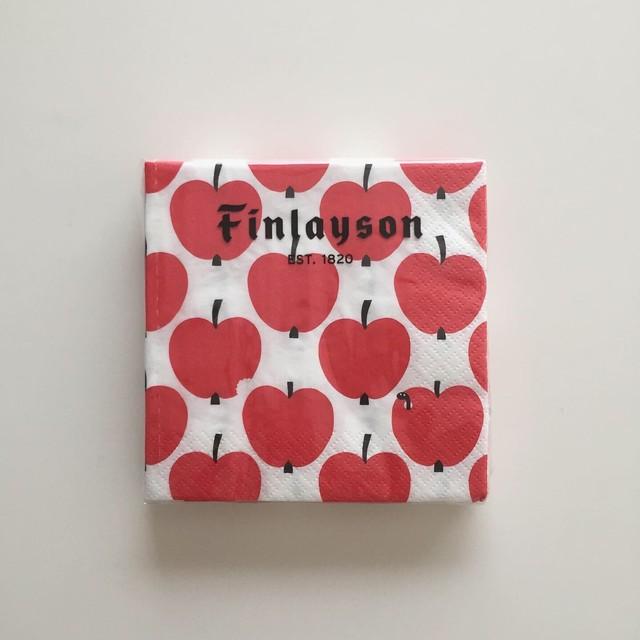 フィンランド製【Finlayson】カクテルサイズ ペーパーナプキン OMPPU ホワイト×レッド 20枚入り