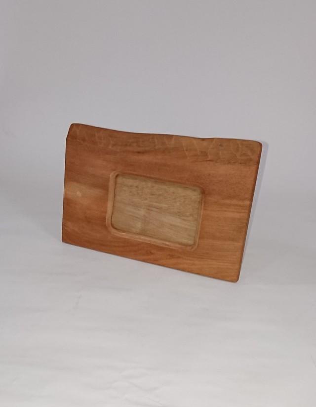 【送料無料】素朴な味わいの木製フォトフレーム L判・はがきサイズ 柿渋塗り【1点もの】