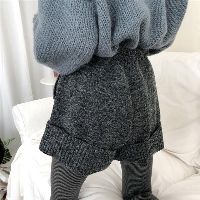 【bottoms】合わせやすいニットカジュアル無地ショートパンツ