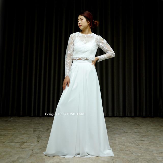 セパレート・カジュアル・ウエディング白ドレス(3点ボレロ・インナー・スカート)  在庫店舗・・アトリエ●