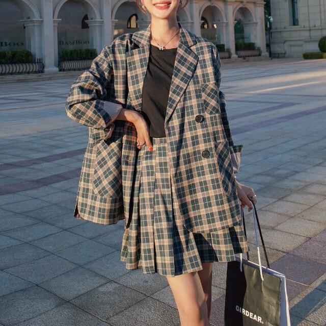 オーバーサイズチェック柄ジャケット+プリーツスカート S3668