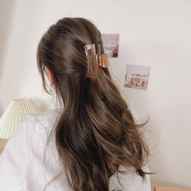 ヘアアクセサリー バンスクリップ ヘアクリップ 韓国 ヘアレンジ 簡単 まとめ髪  シンプル 大人 レディース 女性 クリア 透明 カラー 小さめ くり抜きスクエアカラーバンスクリップ