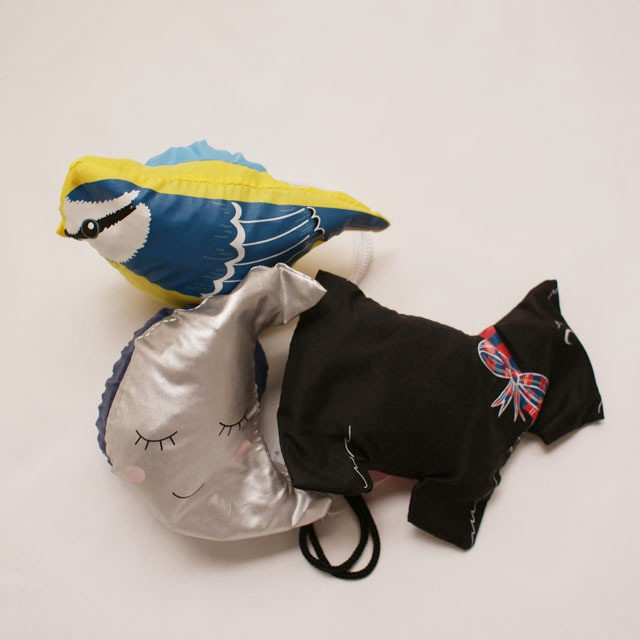 Foldable Shopping Bag / moon,bird, dog  〇お人形みたいな携帯Bag