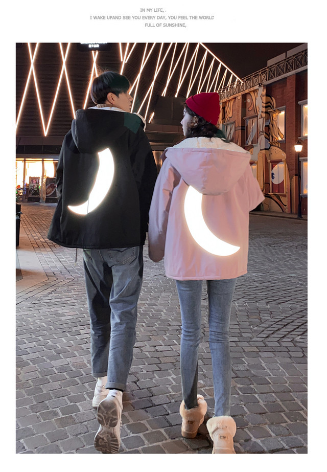 シャイン ムーン ジャケット 0833 メンズ カップル ペアルック リンクコーデ カジュアル お揃い デート アウター ジャケット 光る 月 ルナ
