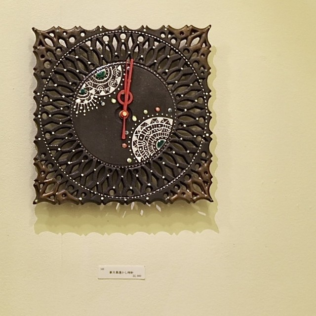 新月黒透かし壁掛け時計