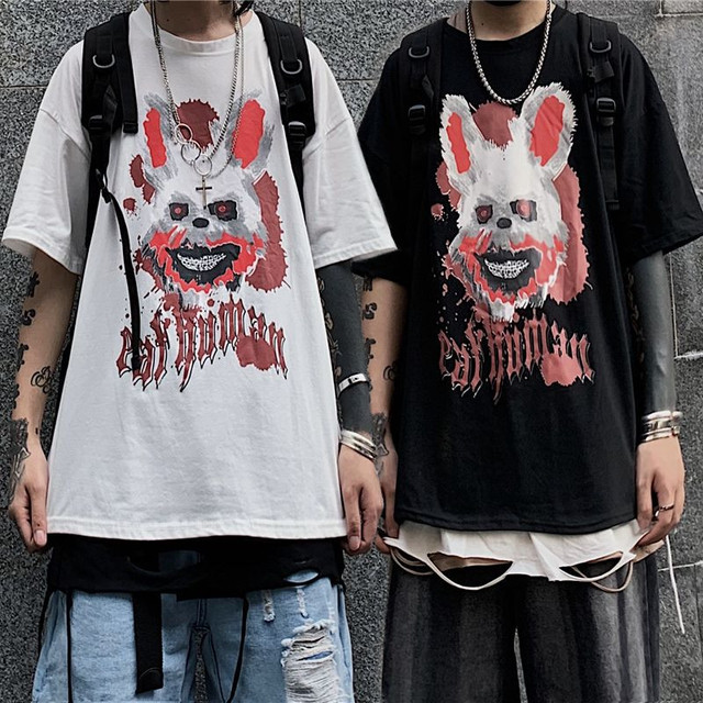 ユニセックス 半袖 Tシャツ メンズ レディース ラウンドネック ダーク系 血まみれウサギ プリント オーバーサイズ 大きいサイズ ルーズ ストリート TBN-614838752783