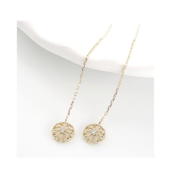 天然ダイヤモンド&K18  タッセルピアス  ピアス  ロングピアス