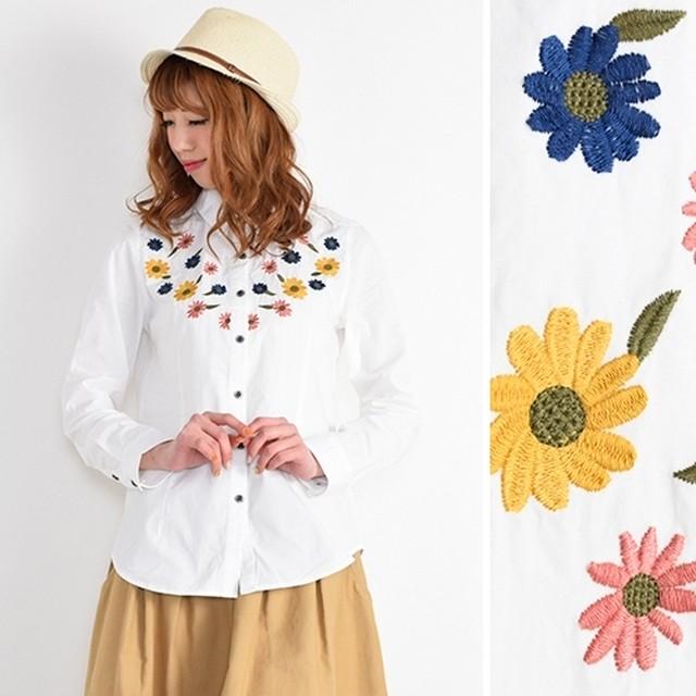 カラフル花柄刺繍★長袖ブラウス