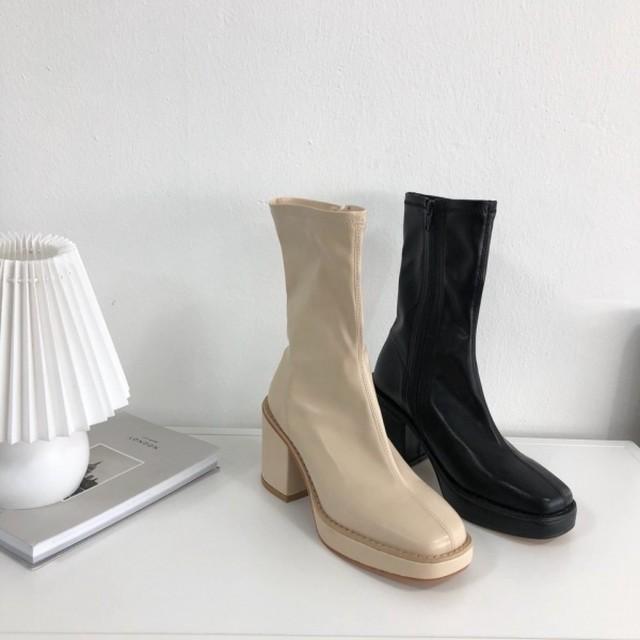 予約注文商品 ミドルハイブーツ ブーツ 韓国ファッション