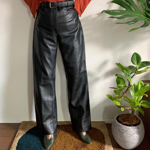 80's Black leather pants ブラック レザーパンツ