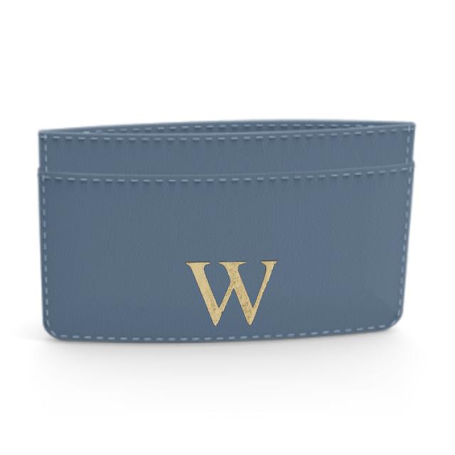 Premium Smooth Leather Card Case (Capri Blue)